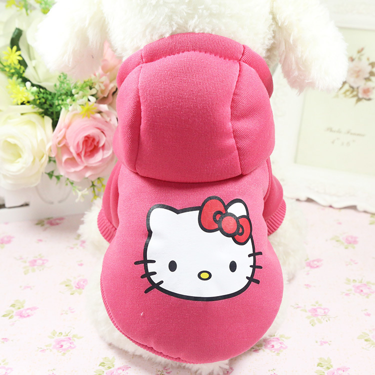 warm soft cute pet apparel winter clothes with hello kitty
