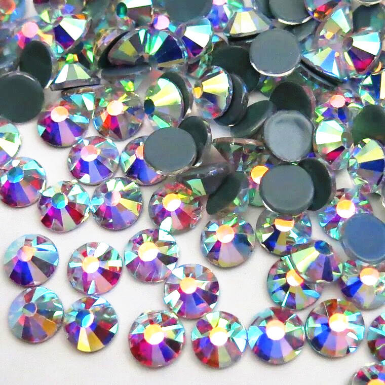 the most shiny loose flat back rhinestone hot fix professional supplier 16 cutting facets ss20 ab  with 8 big and 8 small