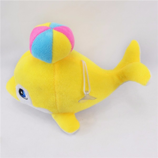 Names for stuffed  yellow plush dolphin with a colorful ball